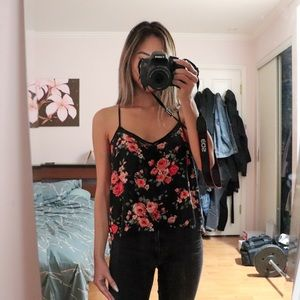 F21 Strappy Black Floral Blouse